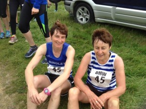 Lesley & Mary take a well deserved sit down after Leg 1.  Lesley  noted  ' I love the relays as they are fun, you meet new people and the reccies are a laugh. I had an amazing partner who gave her all on a very tough uphill run'.  Photo – Barbara Carney.