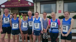 Leg 1 runners fresh and ready to go.  Two mens and two ladies teams.  Andy Gibbons, Lesley Watson, Mary Green, Dave Stephenson, Andy Siddle, Paul Mitchell, Sue Hall and Jenna Killock.  Dave's photo.